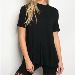 Tops - Relaxed Fit Black Flowy Top